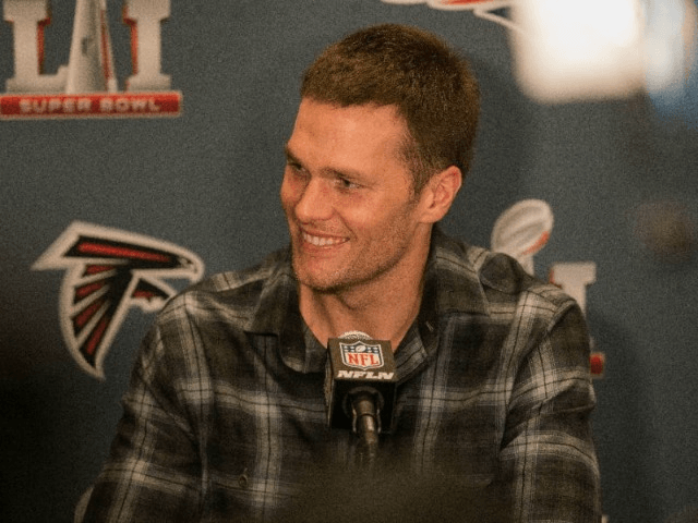 Tom Brady of the New England Patriots answers questions during Super Bowl LI media availability at the J.W. Marriott on January 31, 2017 in Houston, Texas