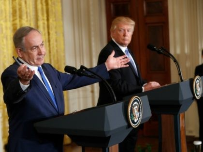 President Donald Trump and Israeli Prime Minister Benjamin Netanyahu during a joint news conference in the East Room of the White House in Washington, Wednesday, Feb. 15, 2017. (AP Photo/Pablo Martinez Monsivais)
