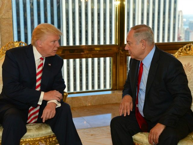 In this handout photo made on Sunday, Sept. 25, 2016, provided by the Israeli Government Press Office, Republican Presidential candidate Donald Trump meets Israeli Prime Minister Benjamin Netanyahu in New York. (Kobi Gideon,GPO via AP)