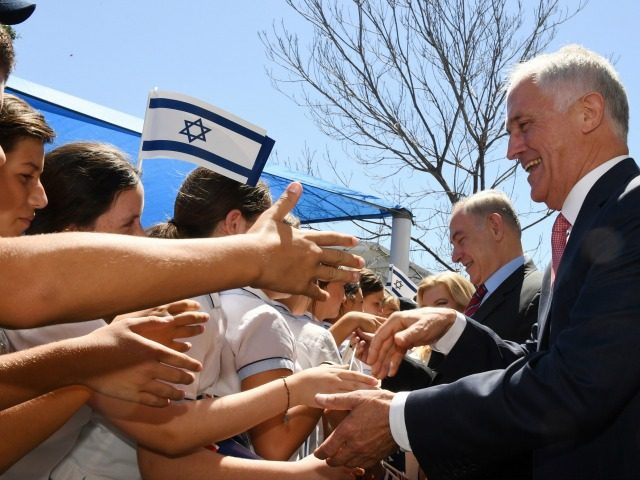 Prime Minister of Israel Benjamin Netanyahu, second right, and Australia's Prime Minister Malcolm Turnbull, right, meet student during a visit the Moriah War Memorial College in Sydney, Thursday, Feb. 23, 2017. Prime Minister Netanyahu is on a four day visit to Australia, the first official visit by an Israeli Prime …
