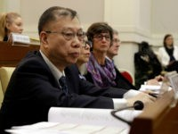 Professor Huang Jiefu, Chairman of the Chinese National Organ Donation and Transplantation Committee, attends a conference on 'Organ Traffiking and Transplant Tourism', held at the Vatican, Tuesday, Feb. 7, 2017. China is stepping up its efforts to convince the international medical community that it has stopped using executed prisoners as organ donors. (AP Photo/Andrew Medichini)