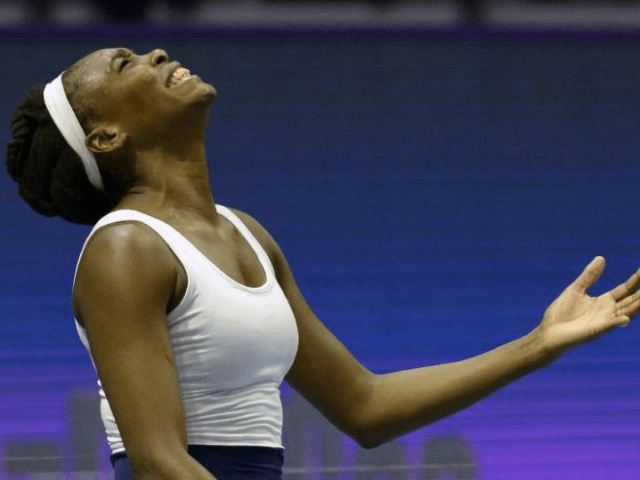 US Venus Williams reacts during the second round match of the WTA St Petersburg Ladies Trophy 2017 tennis tournament against France's Kristina Mladenovic at the Sibur Arena in Saint Petersburg on February 2, 2017
