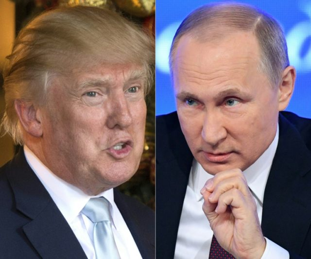 Donald Trump (left) refused to criticise Vladimir Putin during the 2016 election campaign, arguing that better relations with the Kremlin would be in the US national interest