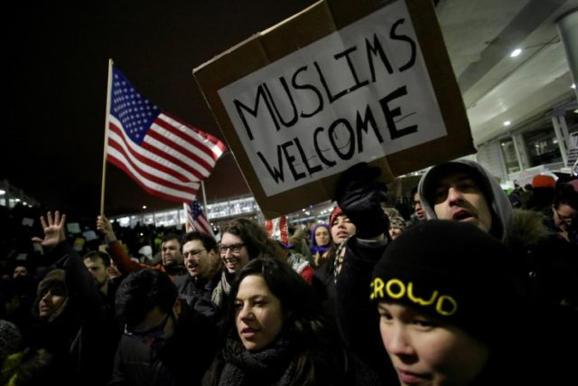 US President Trump's immigration ban has sparked mass protests, such as this rally at Chicago O'Hare International Airport on January 28, 2017