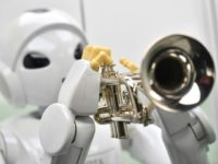 A robot produced by the Toyota Motor Corporation called 'Harry Trumpet -Player Robot' Japan 2005 is on view at the ROBOT exhibition at the Science Museum in London on February 7, 2017