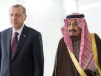 Saudi King Salman bin Abdulaziz (right) held talks with Turkish President Recep Tayyip Erdogan in Riyadh on February 14, 2017