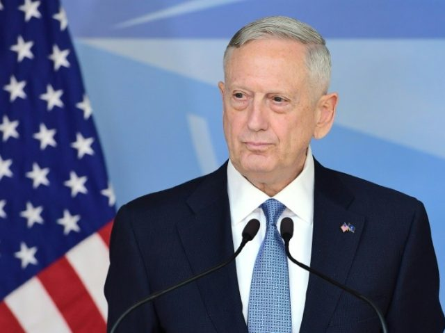 US Defence Secretary James Mattis at NATO headquarters in Brussels on February 15, 2017