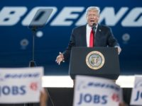 US President Donald Trump addresses a crowd during the debut event for the Dreamliner 787-10 at Boeing's South Carolina facilities on February 17, 2017