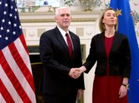 US Vice President Mike Pence held talks with EU foreign policy chief Federica Mogherini at the US embassy in Brussels, on February 20, 2017