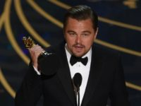 Leonardo DiCaprio accepts the award for Best Actor, in 'The Revenant', during the 88th Oscars, in Hollywood, on February 28, 2016