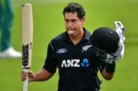 New Zealand's Ross Taylor celebrates 100 runs during their second ODI match against South Africa, at the Hagley Park Oval in Christchurch, on February 22, 2017