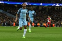 Manchester City's midfielder Raheem Sterling celebrates scoring the opening goal during the UEFA Champions League Round of 16 first-leg football match between Manchester City and Monaco at the Etihad Stadium in Manchester, on February 21, 2017