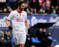 Sevilla's Pablo Sarabia celebrates after scoring his team's fourth goal against Osasuna at El Sadar stadium in Pamplona on January 22, 2017