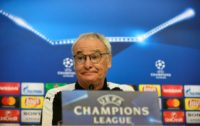 Leicester City's Claudio Ranieri gestures during a press conference on the eve of their UEFA Champions League football match against Sevilla at the Ramon Sanchez Pizjuan stadium in Sevilla on February 21, 2017