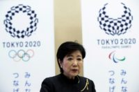 Tokyo Governor Yuriko Koike speaks during an interview with AFP