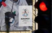 A poster advertising Budapest's bid to host the 2024 Olympic Games is seen in January 2017