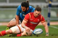 Wales' winger George North scored a try but also injured his leg in the 33-7 win over Italy on February 5