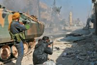 Turkey-backed fighters push with their advance on the Syrian city of al-Bab, on February 22, 2017