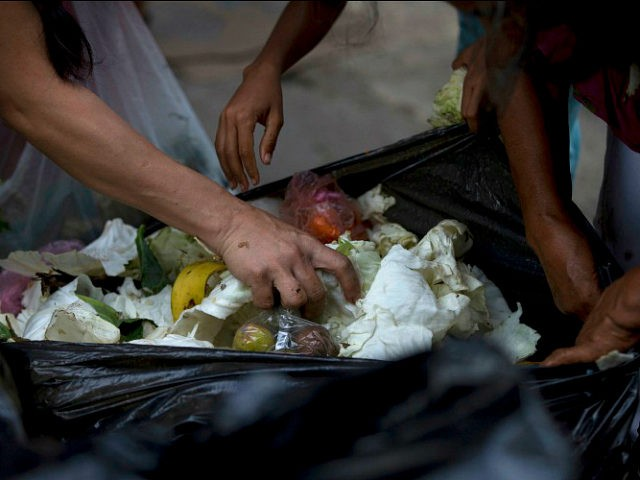 In this June 2, 2016 photo, people search a garbage bag for vegetables and fruit outside a supermarket in downtown Caracas, Venezuela. Unemployed people picking through food tossed out by nearby shops are frequently joined by small business owners, college students and pensioners, people who consider themselves middle class. Living …