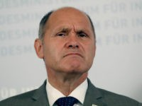 Austrian Interior Minister Wolfgang Sobotka speakes during a press conference for the for Austria's presidential election in Vienna, Austria, Monday, Monday, Sept. 12, 2016. (AP Photo/Ronald Zak)