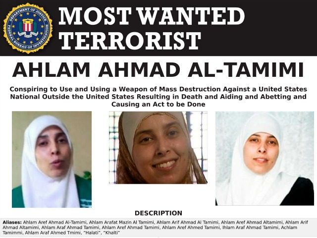 This image provided by the FBI is the most wanted poster for Ahlam Aref Ahmad Al-Tamimi, a Jordanian woman charged in connection with a 2001 bombing of a Jerusalem pizza restaurant that killed 15 people and injured dozens of others. The case against Ahlam Aref Ahmad Al-Tamimi was filed under …