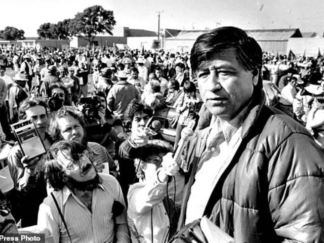 FILE - In this March 7, 1979, file photo, United Farm Workers President Cesar Chavez talks to striking Salinas Valley farmworkers during a large rally in Salinas, Calif. California and several other states will honor Cesar Chavez on Friday, March 31, 2017, by closing schools and state offices. It's the …