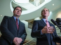UNITED STATES - MARCH 2: Rep. Adam Schiff, D-Calif., right, ranking member of the House Permanent Select Committee on Intelligence, and Chairman Devin Nunes, R-Calif., conduct a news conference in the Capitol Visitor Center after a briefing with FBI Director James Comey about Russia, March 2, 2017. (Photo By Tom Williams/CQ Roll Call) (CQ Roll Call via AP Images)