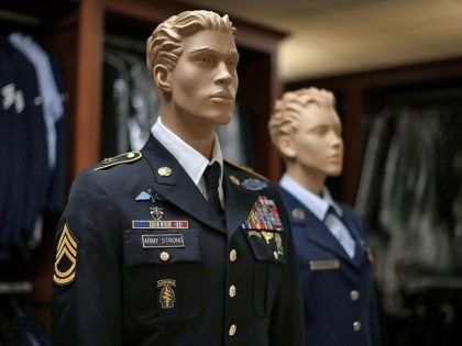 DOVER, DE - JUNE 21: Mannequins are used to display uniforms, in the uniform preparation shop at Dover Air Force Base, June 21, 2013 in Dover, Delaware. Since the 1950s fallen members of the military fighting in conflicts aboard are brought to Dover's Air Force Mortuary Affairs operations complex which …