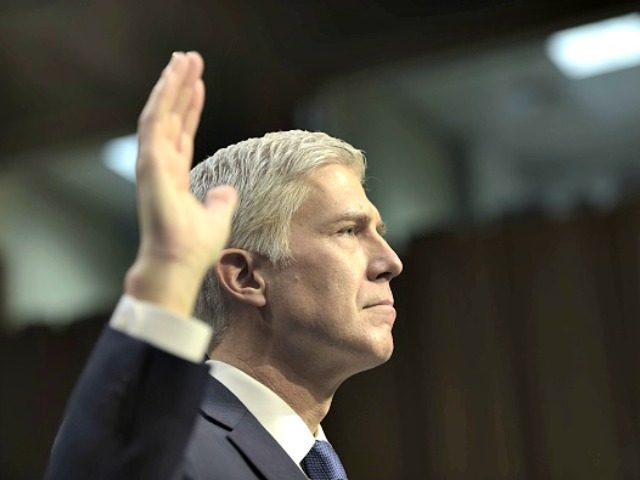 Gorsuch profile raised hand-AFP