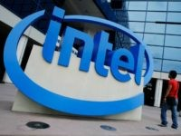 The Intel logo is displayed at the entrance of Intel Corp. headquarters in Santa Clara, Calif., Monday, April 18, 2011. Intel Corp. reports quarterly financial earnings Tuesday, April 19, 2011, after the market close. (AP Photo/Paul Sakuma)