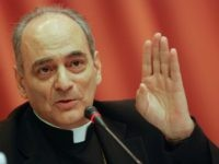 Vatican Bishop and chancellor Marcelo Sanchez Sorondo, speaks during a master conference in the framework of the XII International Meeting of Economists, on March 1, 2010 in Havana. AFP PHOTO/STR (Photo credit should read STR/AFP/Getty Images)