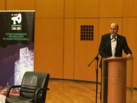 Moshe Yaalon speaking at Tel Aviv International Salon Photo: Arsen Ostrovsky