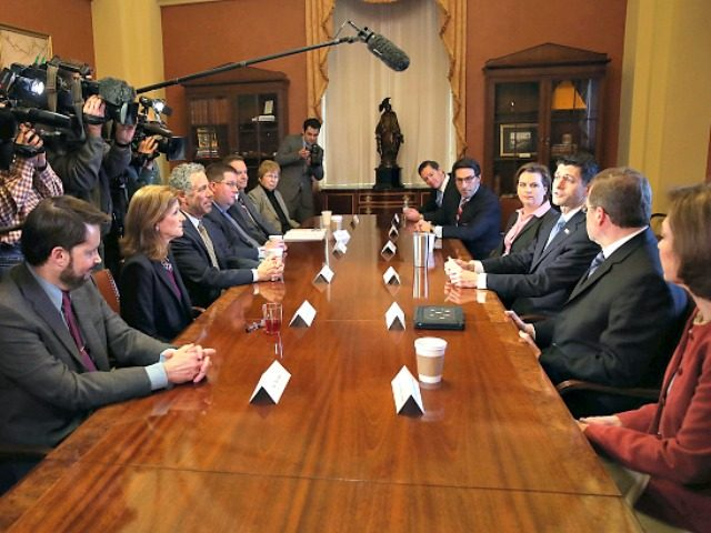 WASHINGTON, DC - MARCH 30: House Speaker Paul Ryan (R-WI) (R) participates in a meeting with leaders of free-market and pro-life organizations to discuss advancing a conservative agenda, on Capitol Hill March 30, 2017 in Washington, DC. (Photo by Mark Wilson/Getty Images)