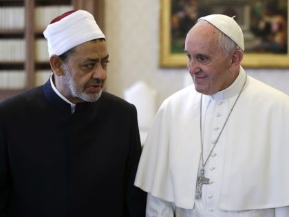 Pope Francis (R) talks with Egyptian Grand Imam of al-Azhar Mosque Sheikh Ahmed Mohamed al-Tayeb (L) during a private audience at the Vatican on May 23, 2016. Pope Francis met the Grand Imam of Cairo's Al-Azhar Mosque at the Vatican on Monday in a historic encounter that was sealed with …