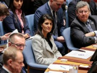 US Permanent Representative to UN Nikki Haley during the Security Council open debate on 'Trafficking in persons in conflict situations: forced labour, slavery and other similar practices', New York City, New York, March 15, 2017. (Photo via EuropaNewswire/Gado/Getty Images).