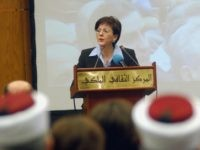 Rima Khalaf Hunaidi, UN assistant secretary-general and director of the regional bureau for Arab states at the UN Development Programme, talks during the launch ceremony of the Arab Human Development Report 'Towards Freedom In The Arab World' in Amman 05 April 2005. Arab countries must step up the pace of …