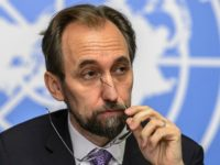 New High Commissioner of the United Nations (UN) for Human Rights, Zeid Ra'ad al-Hussein of Jordan, looks on during a press conference on October 16, 2014 in Geneva.