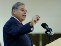 U.S. Sen. Bob Menendez delivers remarks at the Kaplen Jewish Community Center on the Palisades during a rally against recent bomb threats made to jewish centers, Friday, March 3, 2017, in Tenafly, N.J. (AP Photo/Julio Cortez)