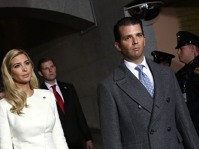 WASHINGTON, DC - JANUARY 20: Ivanka Trump (L) and Donald Trump, Jr. arrive on the West Front of the U.S. Capitol on January 20, 2017 in Washington, DC. In today's inauguration ceremony Donald J. Trump becomes the 45th president of the United States. (Photo by Win McNamee/Getty Images)