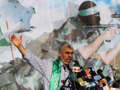 Freed Palestinian prisoner Palestinian Yehiye Sinwar, a founder of Hamas' military wing, talks during a rally in Khan Younis, southern Gaza Strip, Friday, Oct. 21, 2011. Sinwar, a founder of Hamas' military wing, served almost 25 years of four life sentences he was given for his role in the abduction …