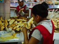 Bread for sale at a bakery in Caracas, on September 14, 2016. Venezuela, which is sitting on the biggest known oil reserves from which it derives 96 percent of its foreign revenues, has been devastated by the drop in prices and is beset with record shortages of basic goods, runaway …