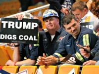 A group of coal miners hold Trump signs as they wait for a rally in Charleston, W.Va., Thursday, May 5, 2016. (AP Photo/Steve Helber)