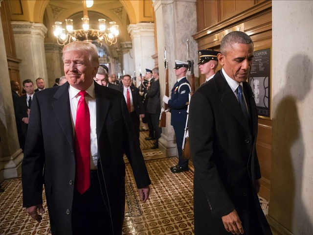 WASHINGTON, DC - JANUARY 20: President-elect Donald Trump, left, and President Barack Obama arrive for Trump's inauguration ceremony at the Capitol in Washington, Friday, Jan. 20, 2017. Trump, a real estate mogul and reality television star who upended American politics and energized voters angry with Washington, will be sworn in …
