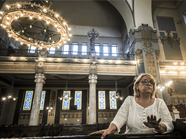 The president of the Egyptian Jewish Community, Magda Shehata Haroun, talks during an interview with AFP at the Jewish synagogue in Adly street downtown Cairo on October 3, 2016. Once a flourishing community, only a handful of Egyptian Jews, mostly elderly women, is all that remains in the Arab world's …