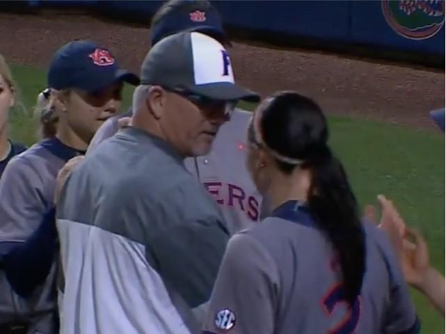 Watch: Florida Softball Coach Pushes Auburn Player