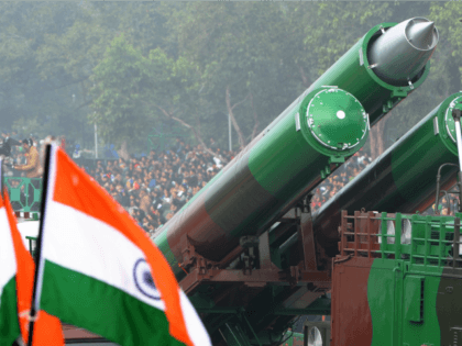 The Indian missle BrahMos Weapon System is watched by spectators during the Republic Day parade in New Delhi on January 26, 2014. India celebrated its 65th Republic Day with a large military parade in the capital New Delhi and similar events across the country. AFP PHOTO/RAVEENDRAN (Photo credit should read …