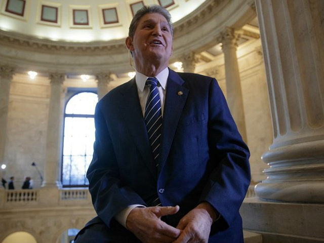 Sen. Joe Manchin, D-W.Va., speaks during a television news interview on Capitol Hill in Washington, Wednesday, Feb. 1, 2017, on President Donald Trump's choice of Neil Gorsuch to fill the Supreme Court vacancy left by Antonin Scalia's death. Manchin said he had little sympathy for fellow Senate Democrats feeling pressure …