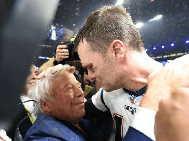 New England Patriots owner Robert Kraft (L) and Tom Brady of the New England Patriots celebrate winning Super Bowl 51 on February 5, 2017