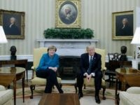 President Donald Trump xxxxx German Chancellor Angela Merkel at the White House, Friday, March 17, 2017, in Washington. (AP Photo/Evan Vucci)