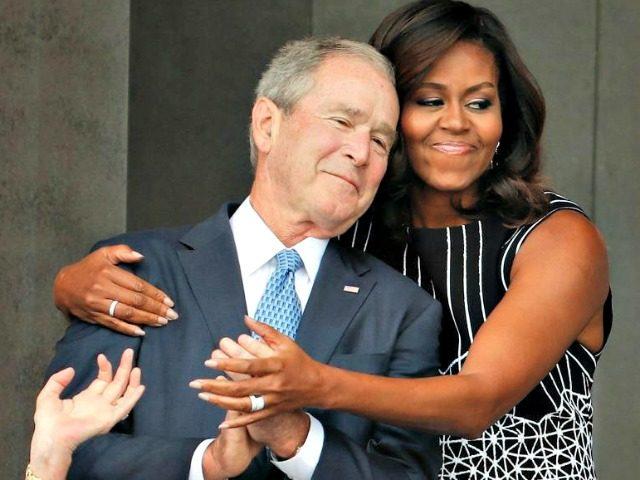 michelle-obama hugs George W Bush-AP